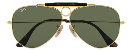 Ray-Ban SHOOTER HAVANA COLLECTION Gold with Green Classic G-15 lens