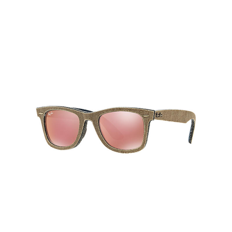 Ray-Ban Original Wayfarer Denim Brown Sunglasses, Pink Lenses - Rb2140