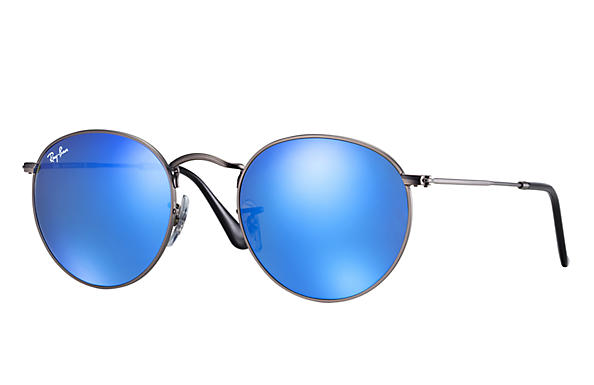 ray ban sunglasses blue lens  ray ban 0rb3447 round flash lenses gunmetal sun