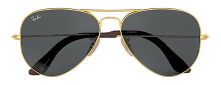 Ray-Ban AVIATOR at Collection Gold mit Blau-Grau Klassisch Gläsern