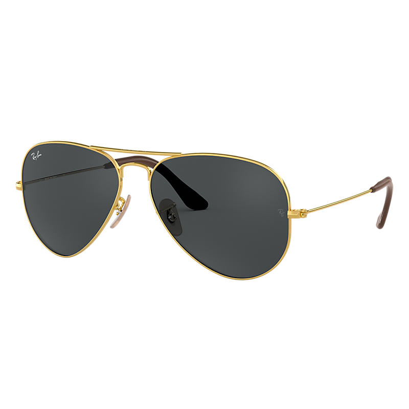 Image of Ray-Ban Aviator At Collection Gold Sunglasses, Blue Lenses - Rb3025