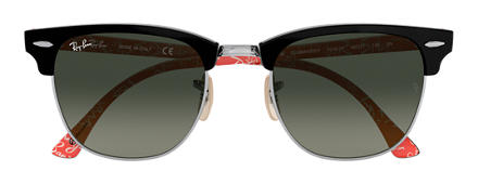 Ray-Ban CLUBMASTER at Collection Nero con lente Grigio Sfumata