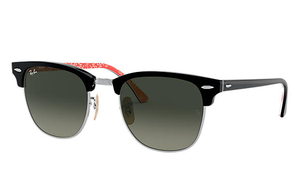 Ray-Ban 0RB3016-CLUBMASTER at Collection Zwart; Zwart,Rood SUN