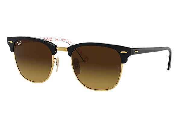 Ray-Ban 0RB3016-CLUBMASTER at Collection Zwart; Zwart,Wit SUN