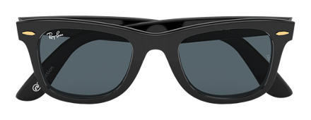Ray-Ban ORIGINAL WAYFARER at Collection Black with Blue/Gray Classic lens
