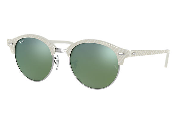 Ray-Ban 0RB4246-CLUBROUND FLASH LENSES Bianco,Argento; Bianco SUN