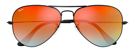 Ray-Ban AVIATOR FLASH LENSES GRADIENT Black with Orange Gradient Flash lens
