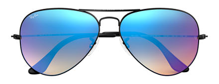Ray-Ban AVIATOR FLASH LENSES GRADIENT Schwarz mit Blau Gradient Flash Gläsern