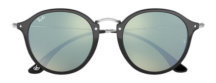 Ray-Ban ROUND FLECK at Collection Noir avec verres Argent Flash