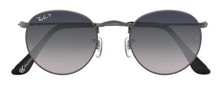 Ray-Ban ROUND METAL at Collection Gunmetal with Blue/Grey Gradient lens