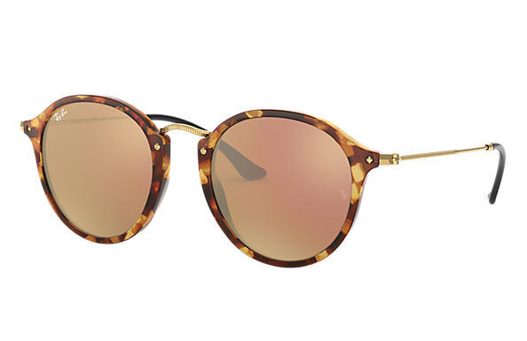 Ray-Ban 0RB2447-ROUND FLECK at Collection Tortoise; Gold SUN