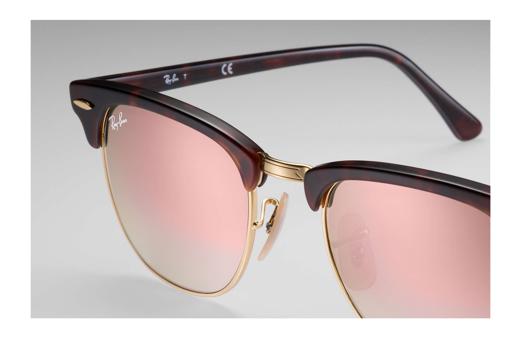 pink clubmaster sunglasses  Ray-Ban Clubmaster Flash Lenses Gradient Tortoise,Gold Tortoise ...