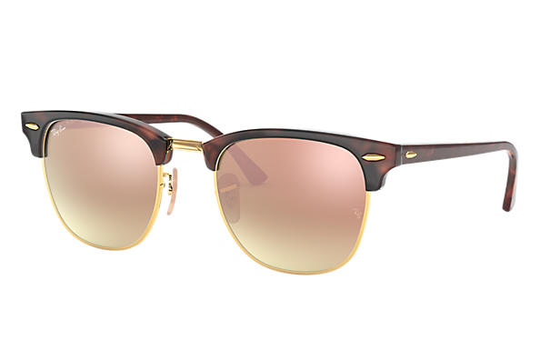 Ray-Ban 0RB3016-CLUBMASTER FLASH LENSES GRADIENT Tortoise,Gold; Tortoise SUN