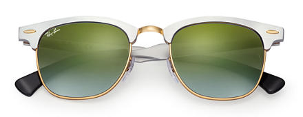 Ray-Ban CLUBMASTER ALUMINUM FLASH LENSES GRADIENT Silver with Green Gradient Flash lens