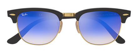 Ray-Ban CLUBMASTER FOLDING FLASH LENSES GRADIENT Noir avec verres Bleu Gradient Flash