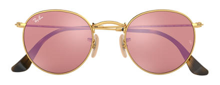 Ray-Ban ROUND FLAT LENSES Gold with Copper Flash lens
