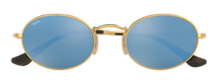 Ray-Ban OVAL FLAT LENSES Gold with Light Blue Gradient Flash lens