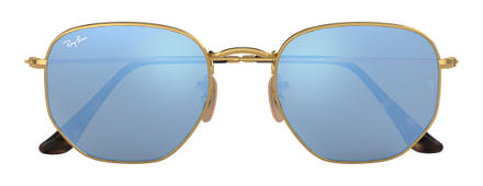 Ray-Ban HEXAGONAL FLAT LENSES Gold mit Hellblau Gradient Flash Gläsern
