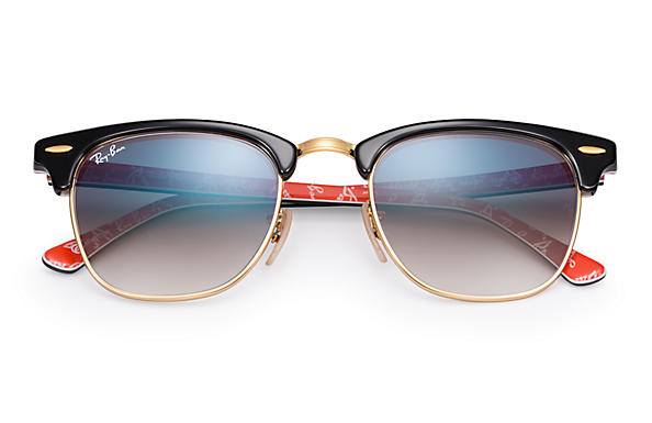 black gold clubmaster  Ray-Ban Clubmaster At Collection Black,Gold Black,Red, RB3016 ...