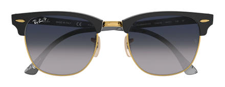 Ray-Ban CLUBMASTER at Collection Black with Blue/Grey Gradient lens