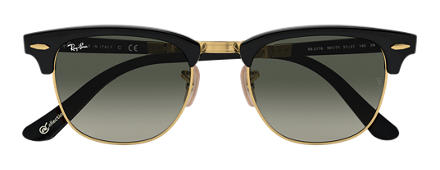 Ray-Ban CLUBMASTER FOLDING at COLLECTION Black with Grey Gradient lens