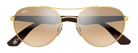 Ray-Ban RB3536 at COLLECTION Gold with Light Brown Gradient lens