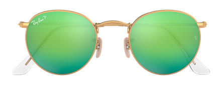 Ray-Ban ROUND FLASH LENSES Or avec verres Vert Flash