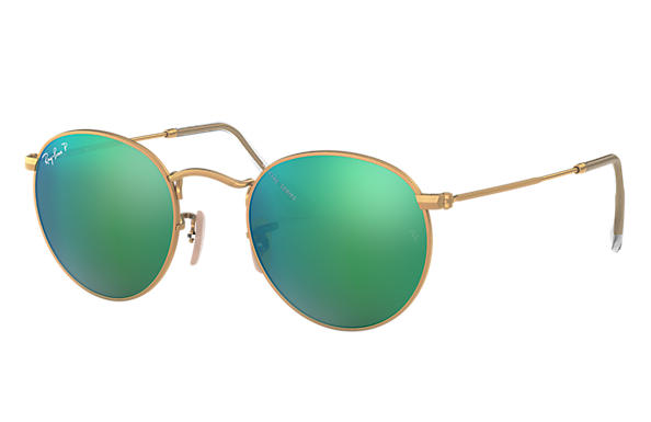 Ray-Ban 0RB3447-ROUND FLASH LENSES Gold SUN