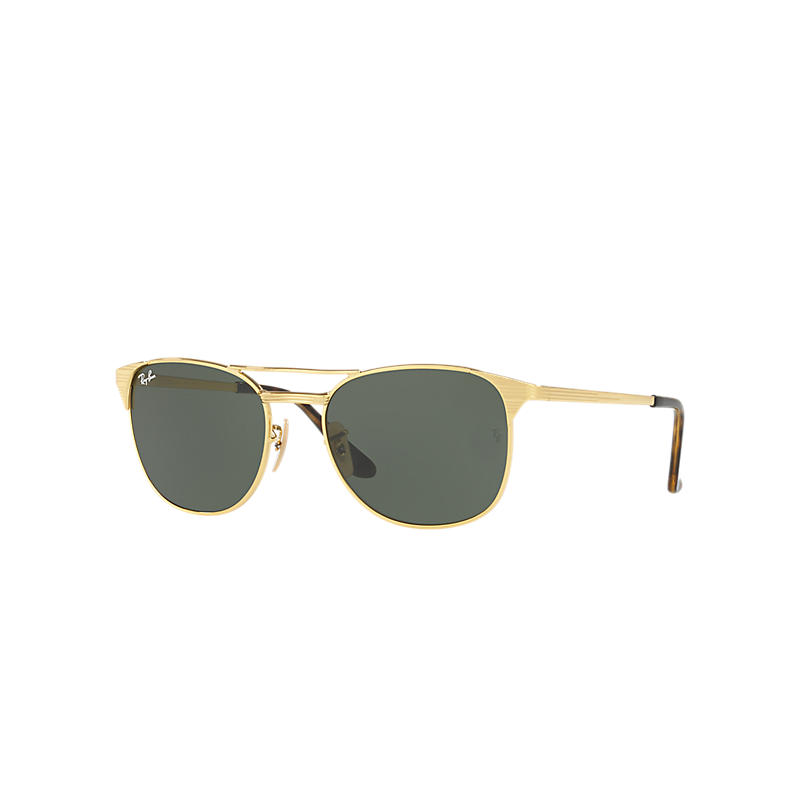 Ray-ban Mens Signet Gold Sunglasses, Green Lenses Rb3429m