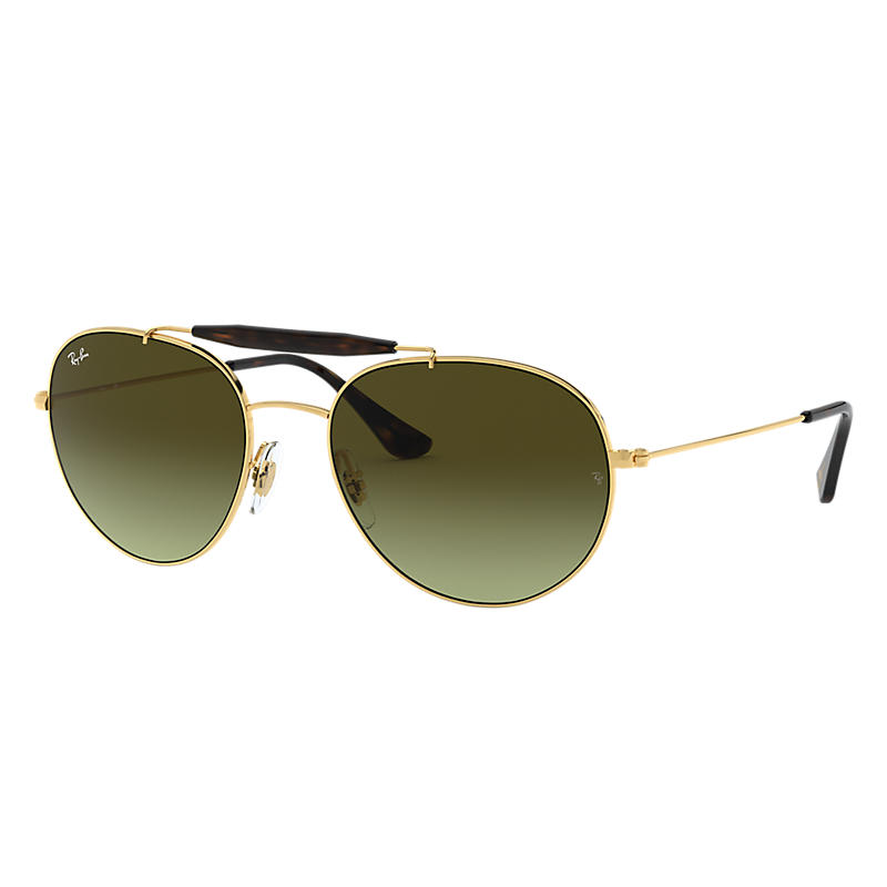 Image of Ray-Ban At Collection Gold Sunglasses, Green Lenses - Rb3540