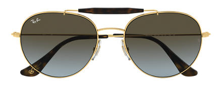 Ray-Ban RB3540 at Collection Or avec verres Bleu-Marron Dégradé