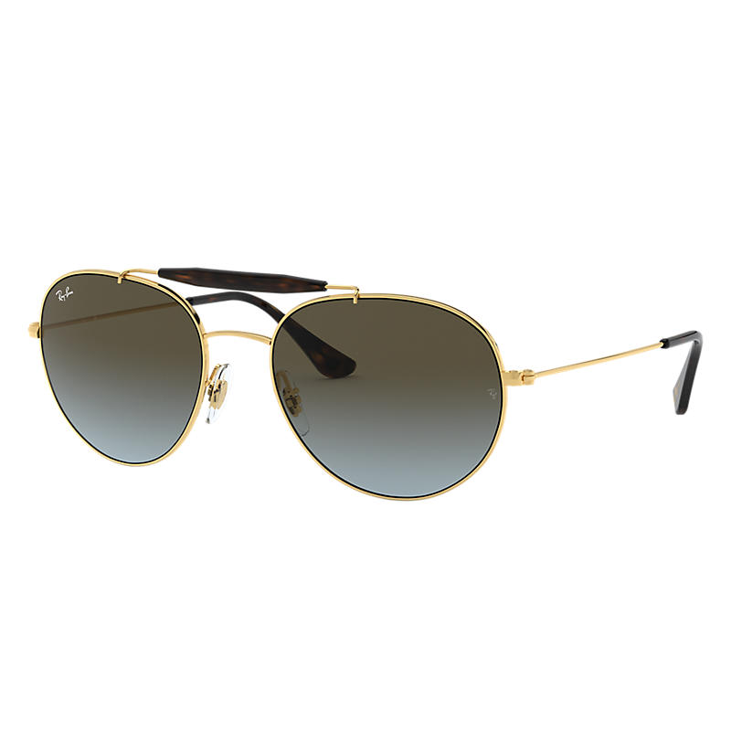 Image of Ray-Ban At Collection Gold Sunglasses, Blue Lenses - Rb3540