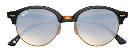 Ray-Ban CLUBROUND at Collection Black with Silver Gradient Flash lens