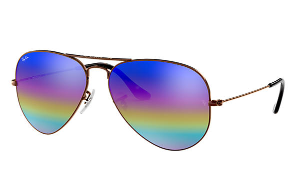 Ray-Ban 0RB3025-AVIATOR MINERAL FLASH LENSES Brons-koppar SUN