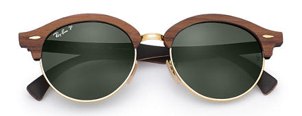 Ray-Ban CLUBROUND WOOD Marrone con lente Verde Classica G-15
