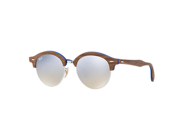 Ray-Ban 0RB4246M-CLUBROUND WOOD Brown,Silver; Brown,Light Blue SUN