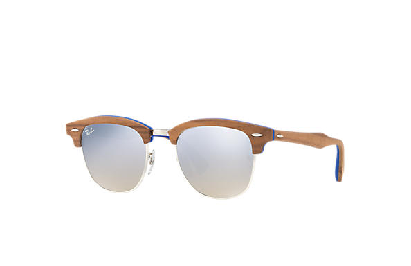 Ray-Ban 0RB3016M-CLUBMASTER WOOD Light Blue; Brown SUN