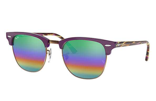 Ray-Ban 0RB3016-CLUBMASTER MINERAL FLASH LENSES Violet SUN