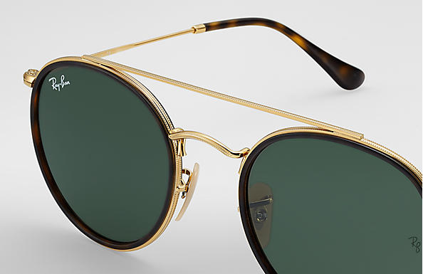 ray ban round double bridge sunglasses  ray ban 0rb3647n round double bridge gold sun