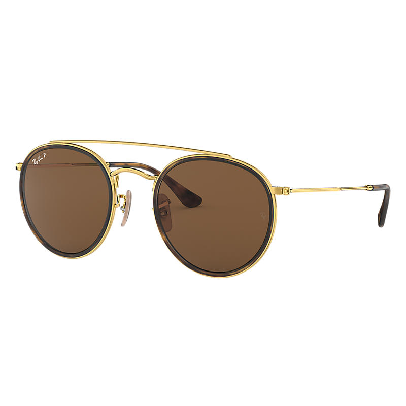 Ray-ban Mens Round Double Bridge Gold Sunglasses, Polarized Brown Lenses Rb3647n