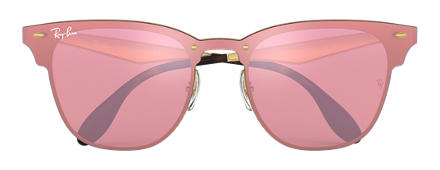 Ray-Ban BLAZE CLUBMASTER Gold with Pink Mirror lens