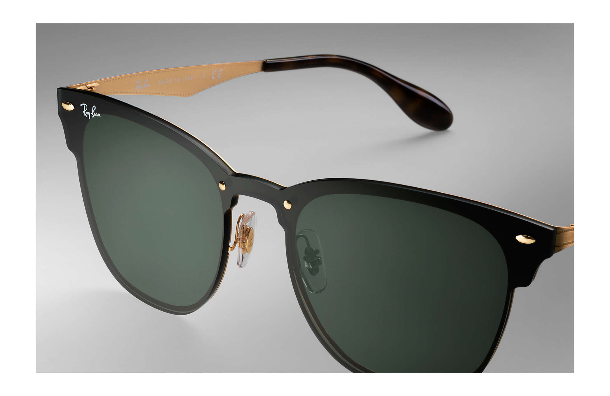 ray ban gold clubmaster  Ray-Ban Blaze Clubmaster Gold, RB3576N