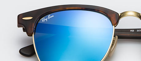 Custom Clubmaster with blue flash lenses