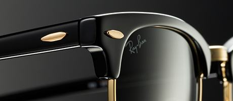 Custom Clubmaster with gold metal detail on black frame