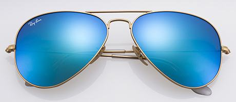 ray ban aviator sunglasses latest  frame and lens detail; front view
