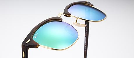 Custom tortoiseshell Clubmaster with green flash lenses