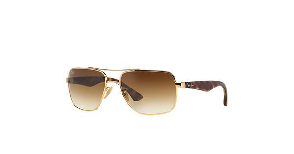 rb3476  Ray-Ban RB3483 Gold Tortoise, Light Brown Lenses