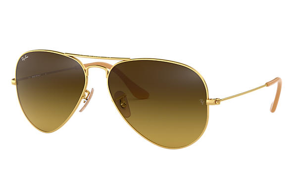 Ray Ban Aviator Gradient Rb3025 Gold Metal Brown