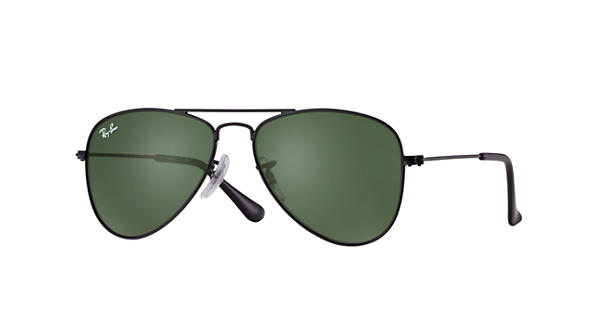ray ban juniors 0rj9506s aviator sunglasses  aviator junior sunglasses black metal, green classic lenses rb9506s