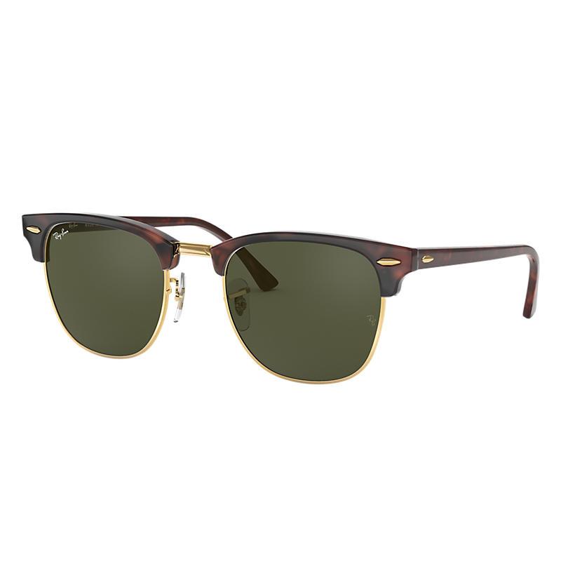 Ray Ban Clubmaster classic Unisex Sunglasses Verres: Vert, Monture: Havane - RB3016 W0366 49-21